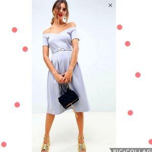 ASOS DESIGN sweetheart neck bardot midi dress
